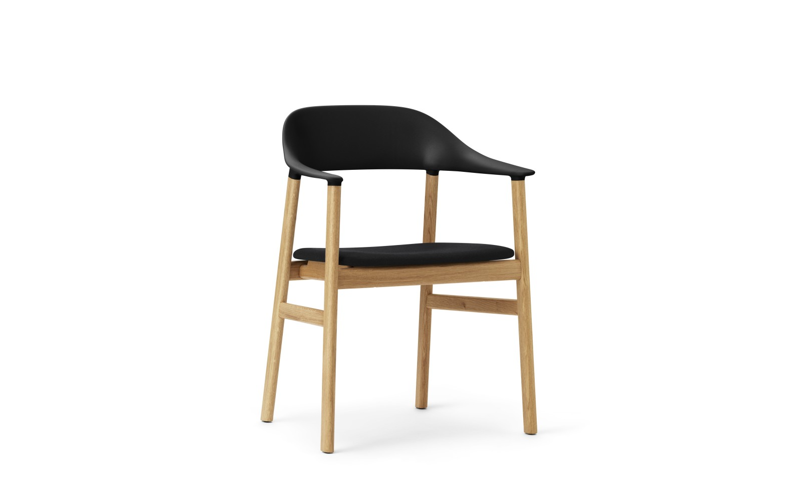 Herit Dining Chair with Armrests and Upholstered Seat Synergy Black, Oak