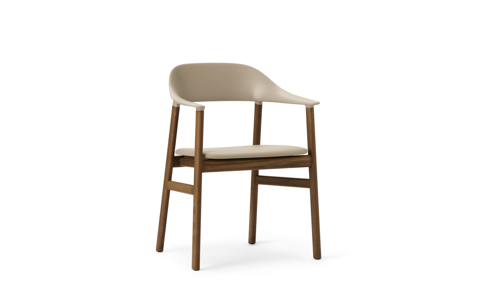 Herit Dining Chair with Armrests and Upholstered Seat Spectrum Leather Sand, Smoked Oak