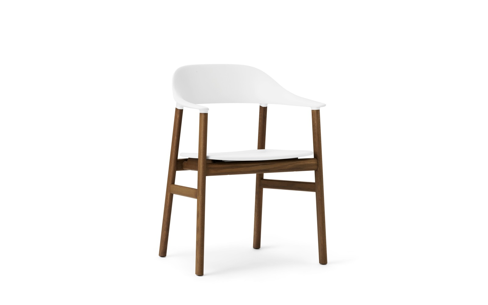 Herit Dining Chair with Armrests White, Smoked Oak