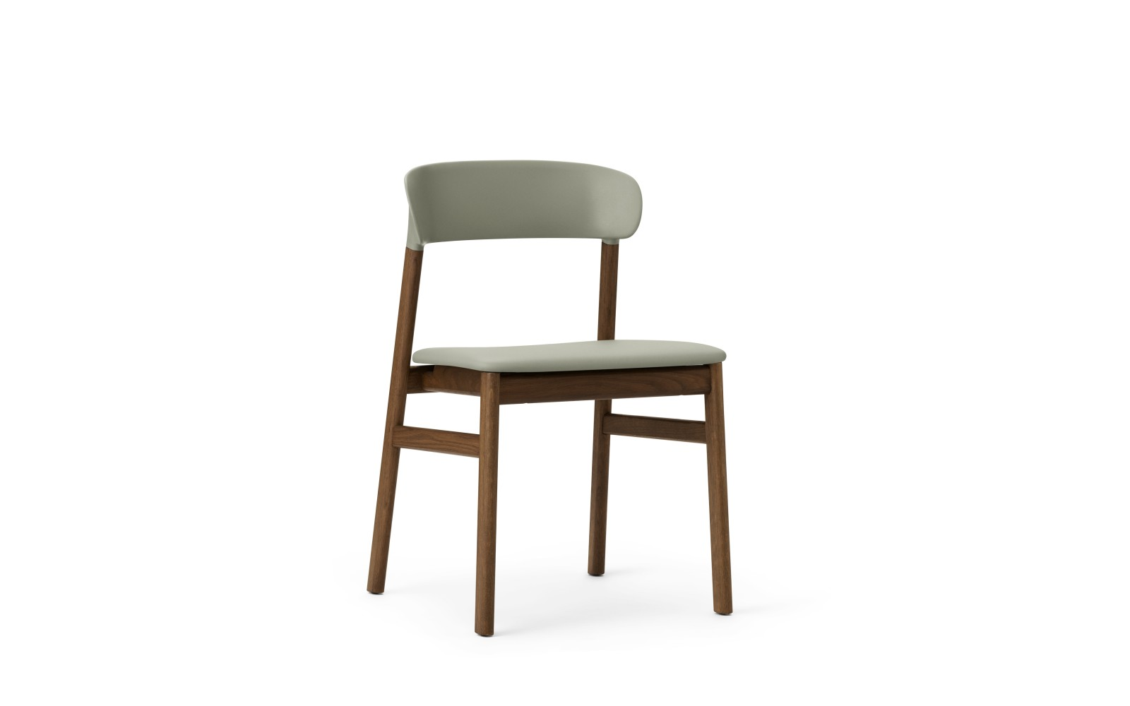 Herit Dining Chair with Upholstered Seat Spectrum Leather Dusty Green, Smoked Oak