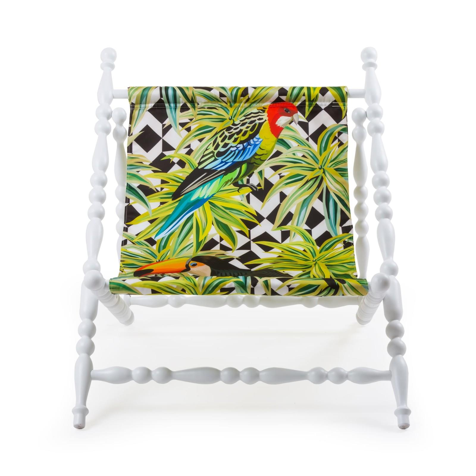 Heritage Foldable Deckchair - Set of 2 White base, Parrots