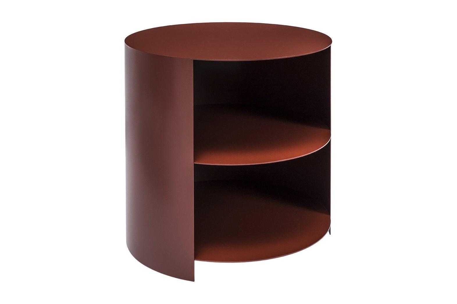 Hide Side Table Powder Coated Steel - Rust Red