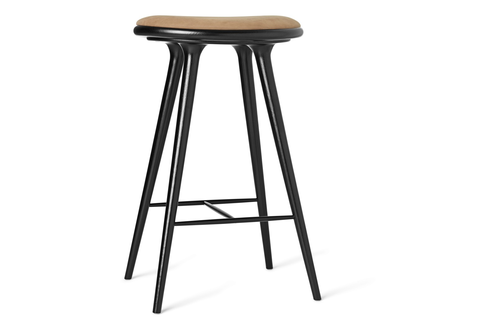 High Stool Black Stained Solid Oak, Camel, 74H