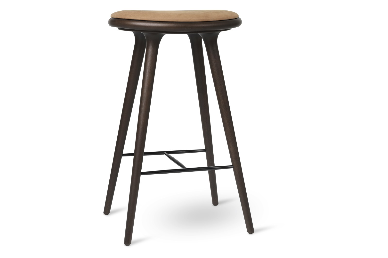 High Stool Dark Stained Solid Beech, Camel, 74H