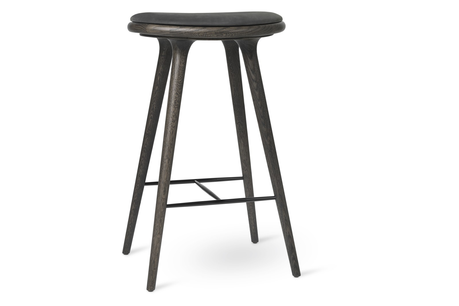 High Stool Sirka Grey Stained Solid Oak, Antrhazite, 74H