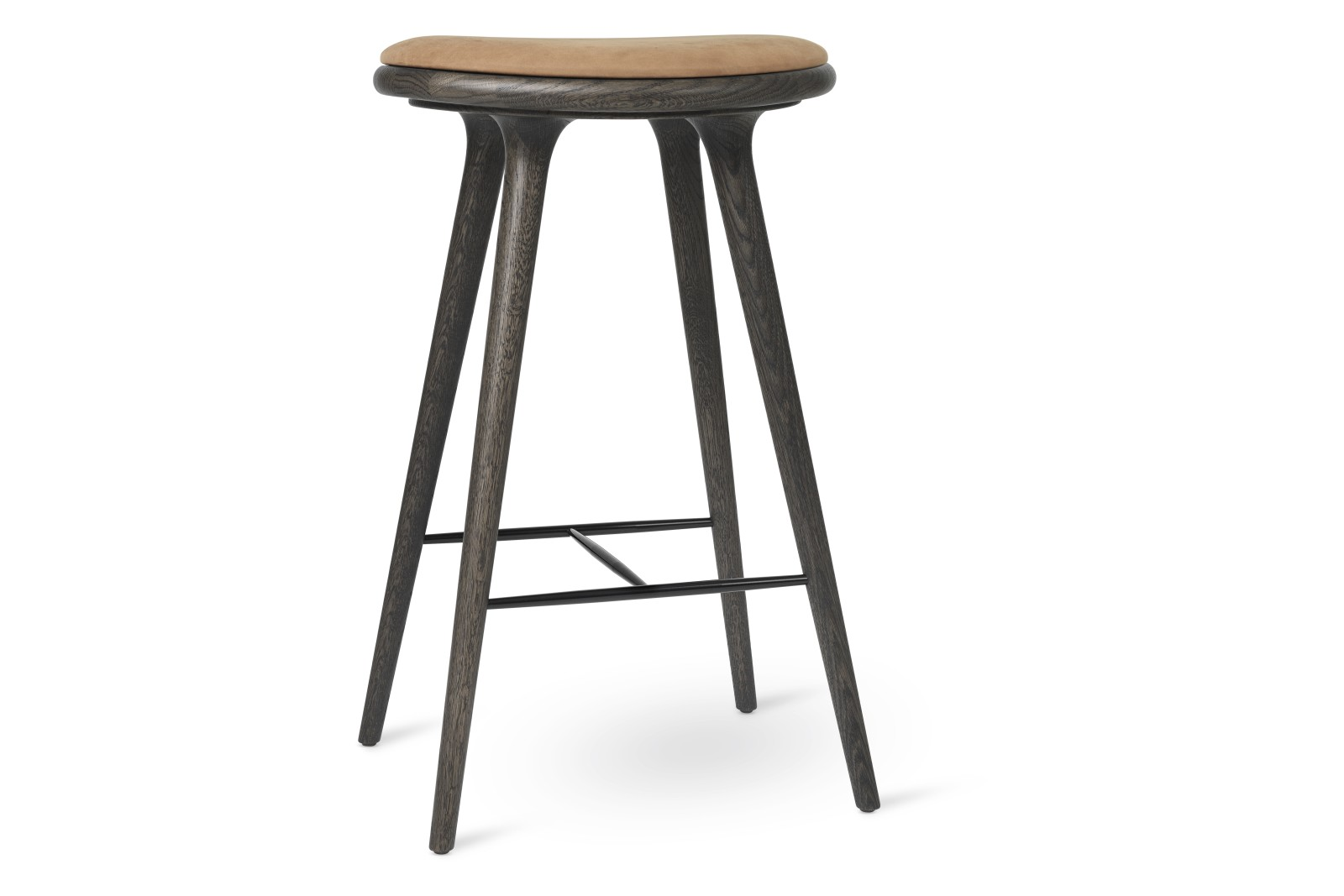 High Stool Sirka Grey Stained Solid Oak, Camel, 74H