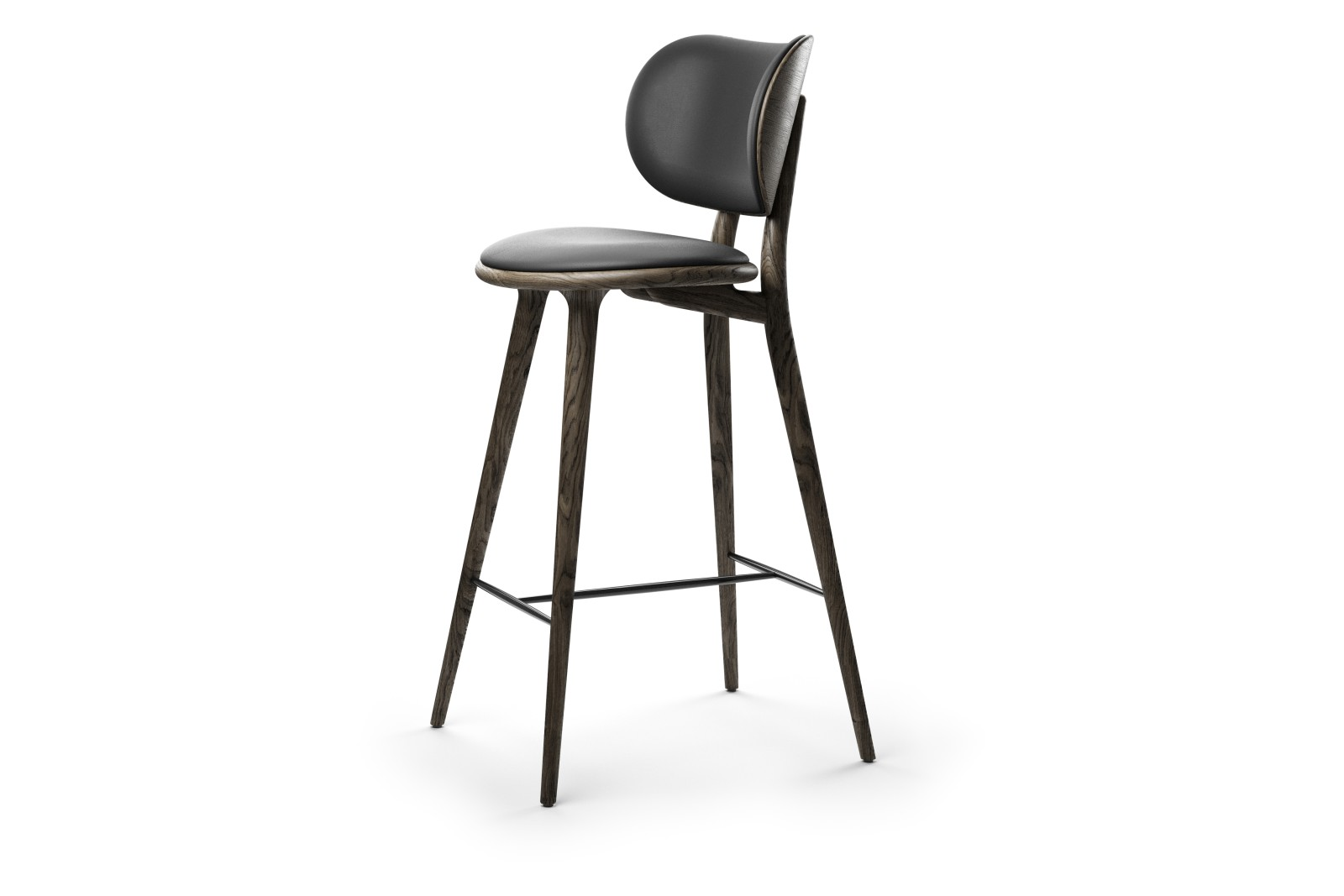 High Stool with Backrest Sirka Grey Stained Solid Oak, 102 cm