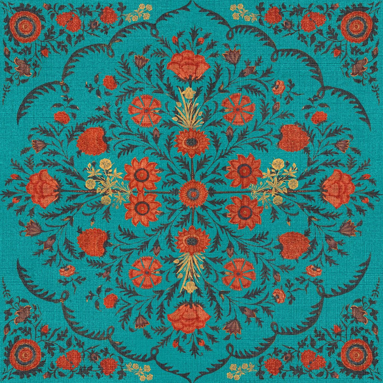 Hindu Bloom Wallpaper Topaz