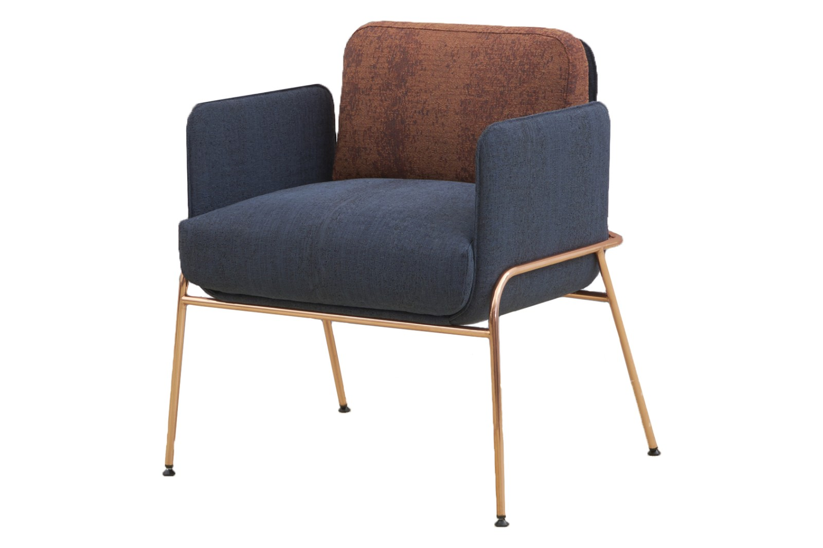 HM10F FLIX 4-Leg Armchair Camira Halcyon Collection Bronze Plating Legs