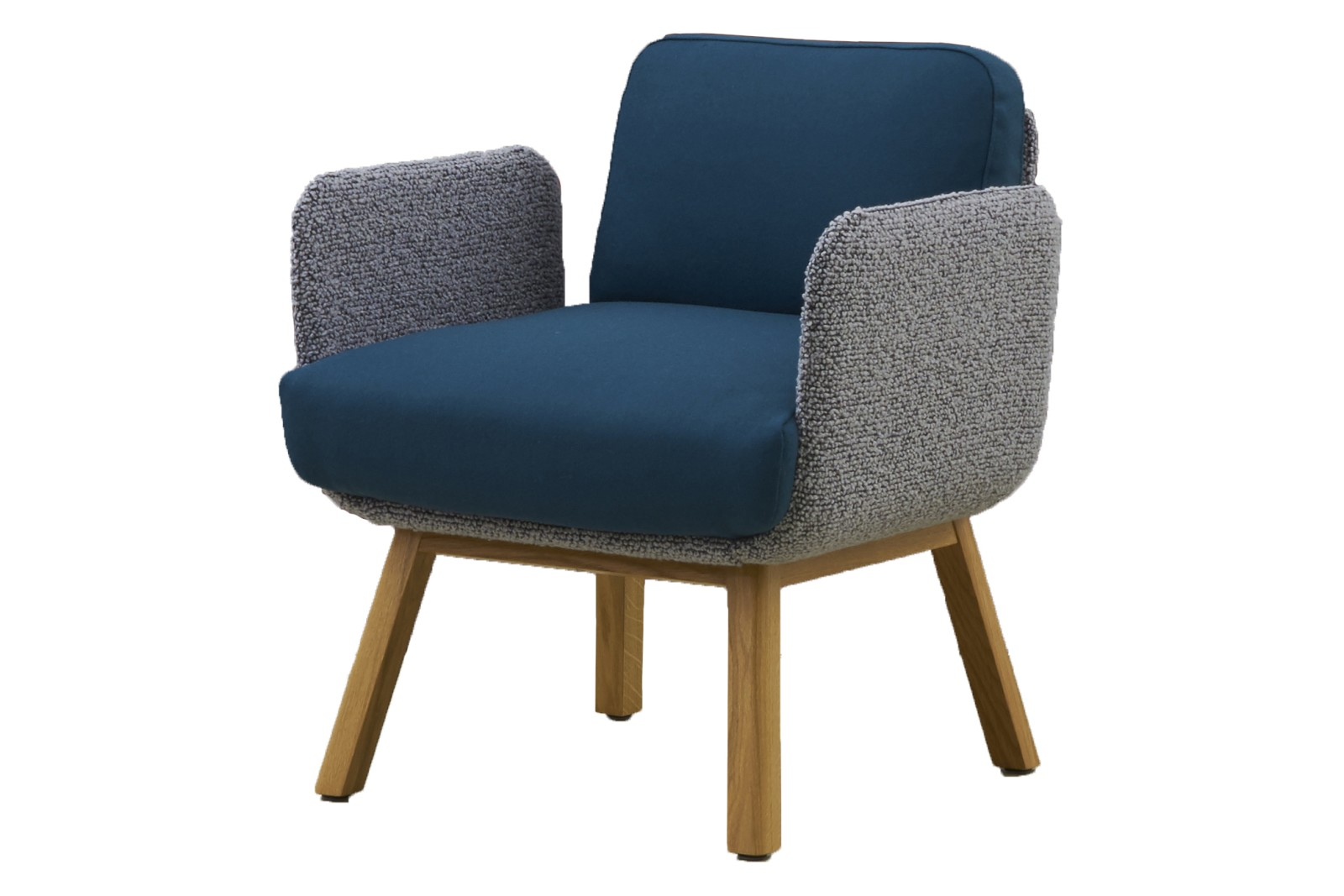 HM10J FLIX Arm Chair With Wooden Base Kvadrat Steelcut 2 Natural Lacquered