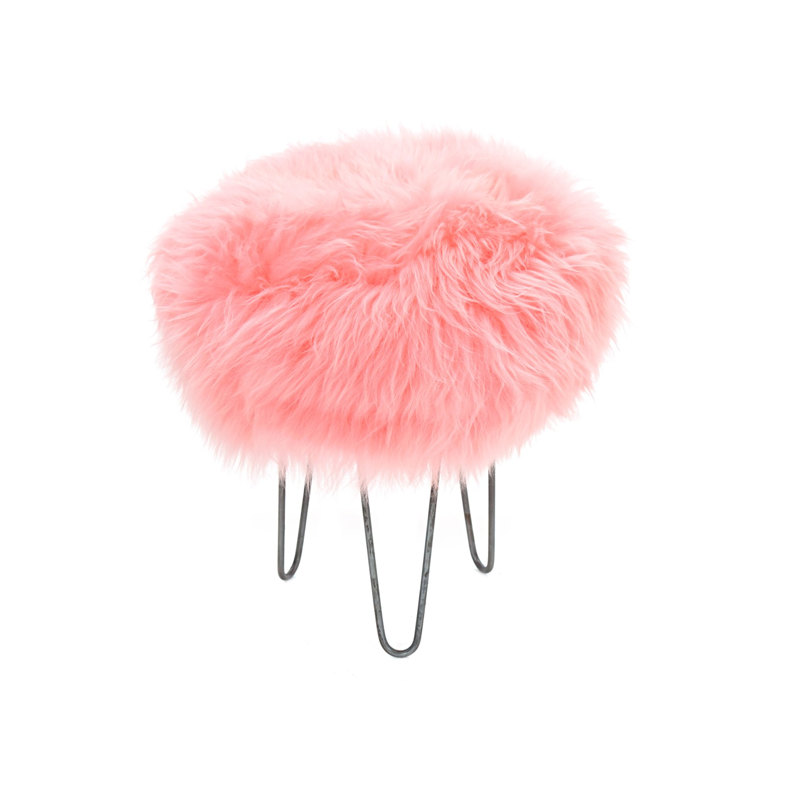 Holly - Sheepskin Footstool Baby Pink
