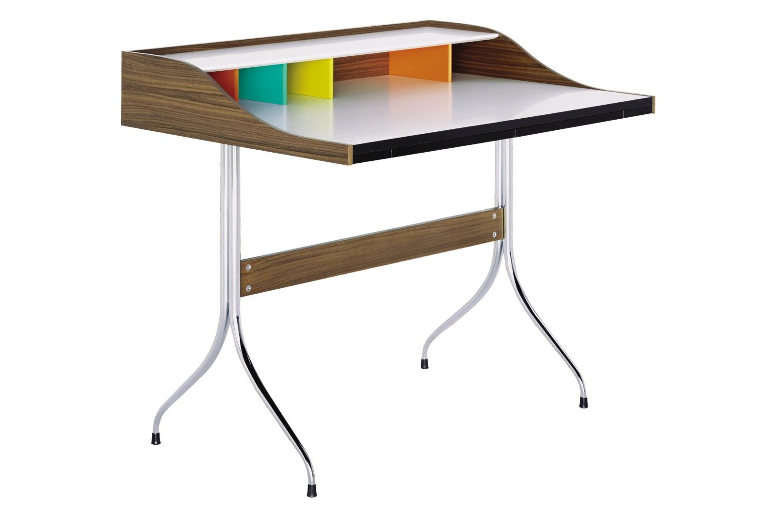 Home Desk walnut veneer, chrome-plated