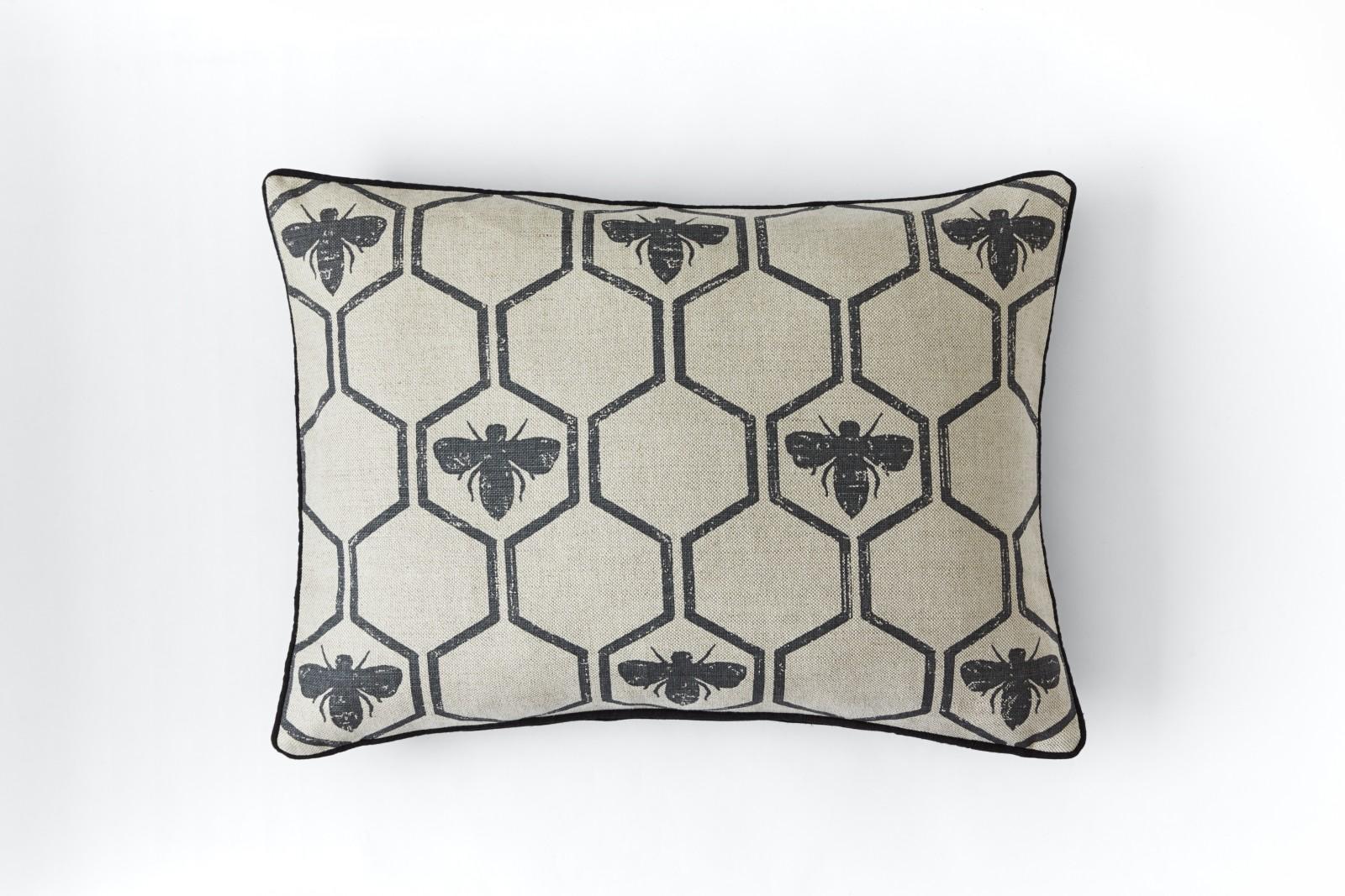 Honey Bees Cushion Charcoal