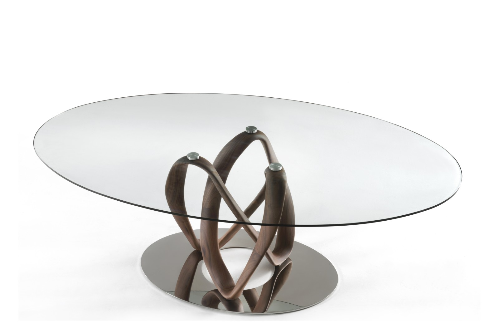Infinity Dining Table 1 Base C, Ellittico Canaletta Walnut, Cristals Trasparente, Grey Petwer, 180cm