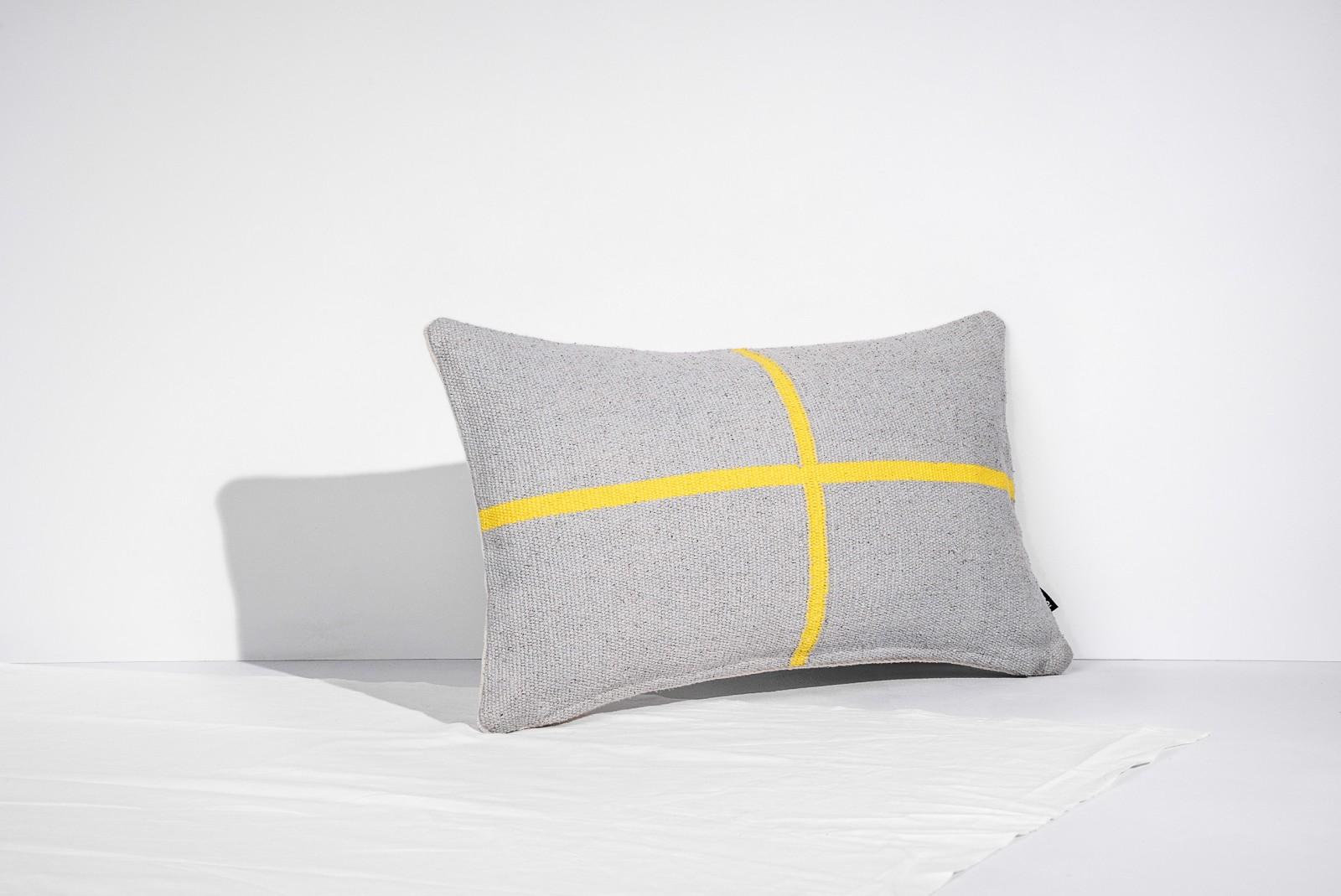 Jama-Khan Cushion Jamakhan Cross, Grey & Yellow, Rectangle