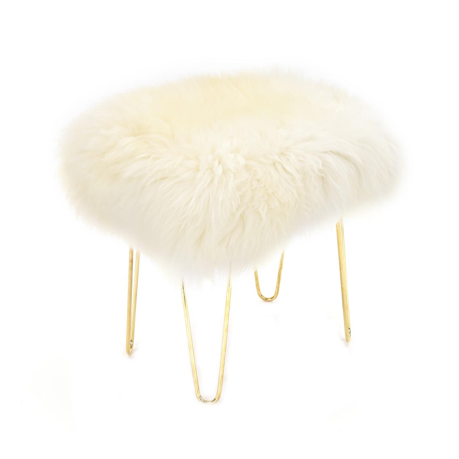 Judy - Sheepskin Footstool in Ivory