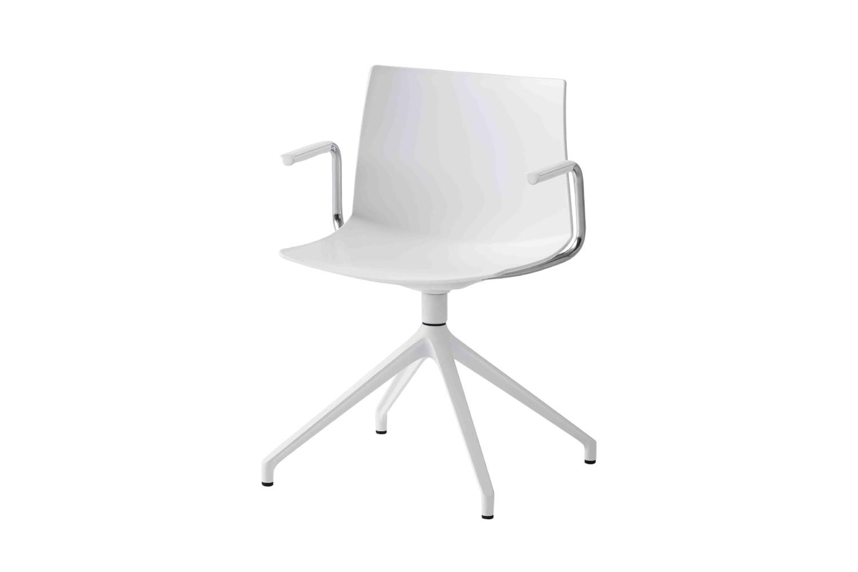 Kanvas 2 U BR Swivel Chair with Arms Set of 4 00 White, White Aluminium
