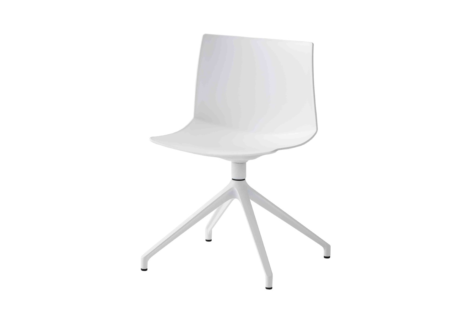 Kanvas 2 U Swivel Chair Set of 4 00 White, White Aluminium
