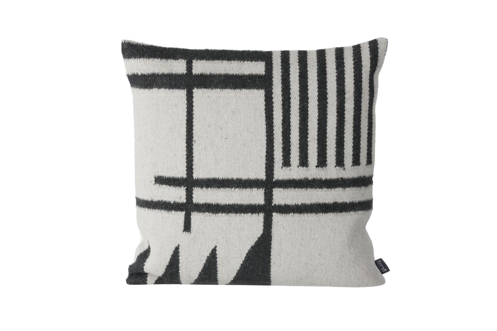 Kelim Cushion, Black Lines