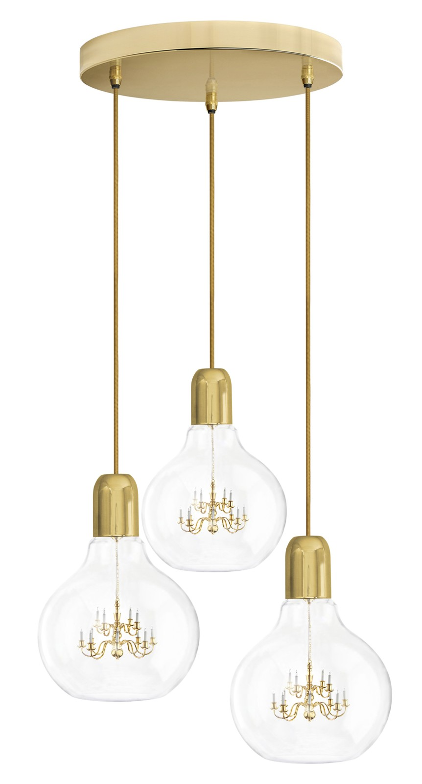 King Edison Trio Pendant Lamps King Edison Trio Gold Pendant Lamp