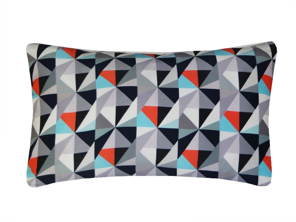 Kite Printed Rectangular Cushion Greys and Reds