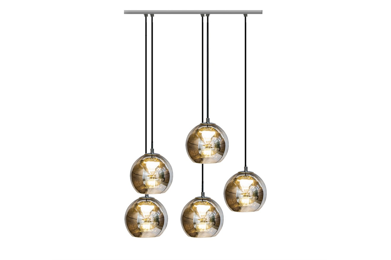 Kubric Pendant Lamp with 5 Clusters Chrome