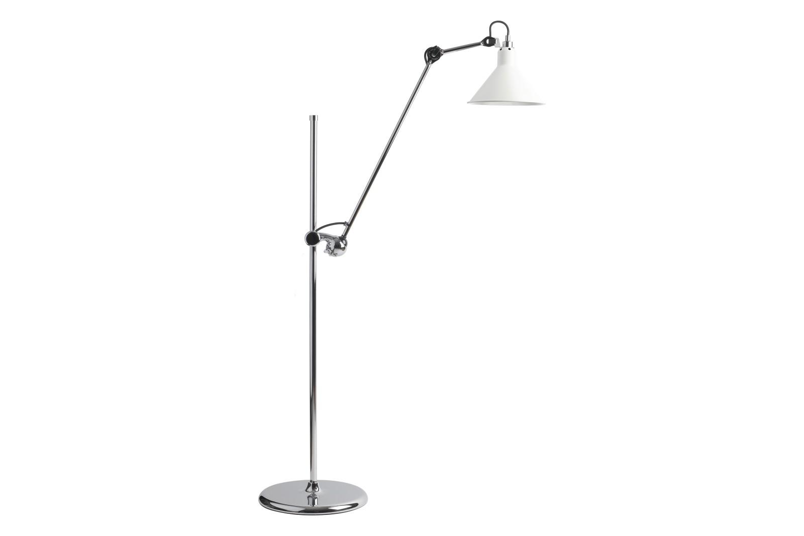 Lampe Gras N 215 Conic Shade Floor Lamp Chrome, White