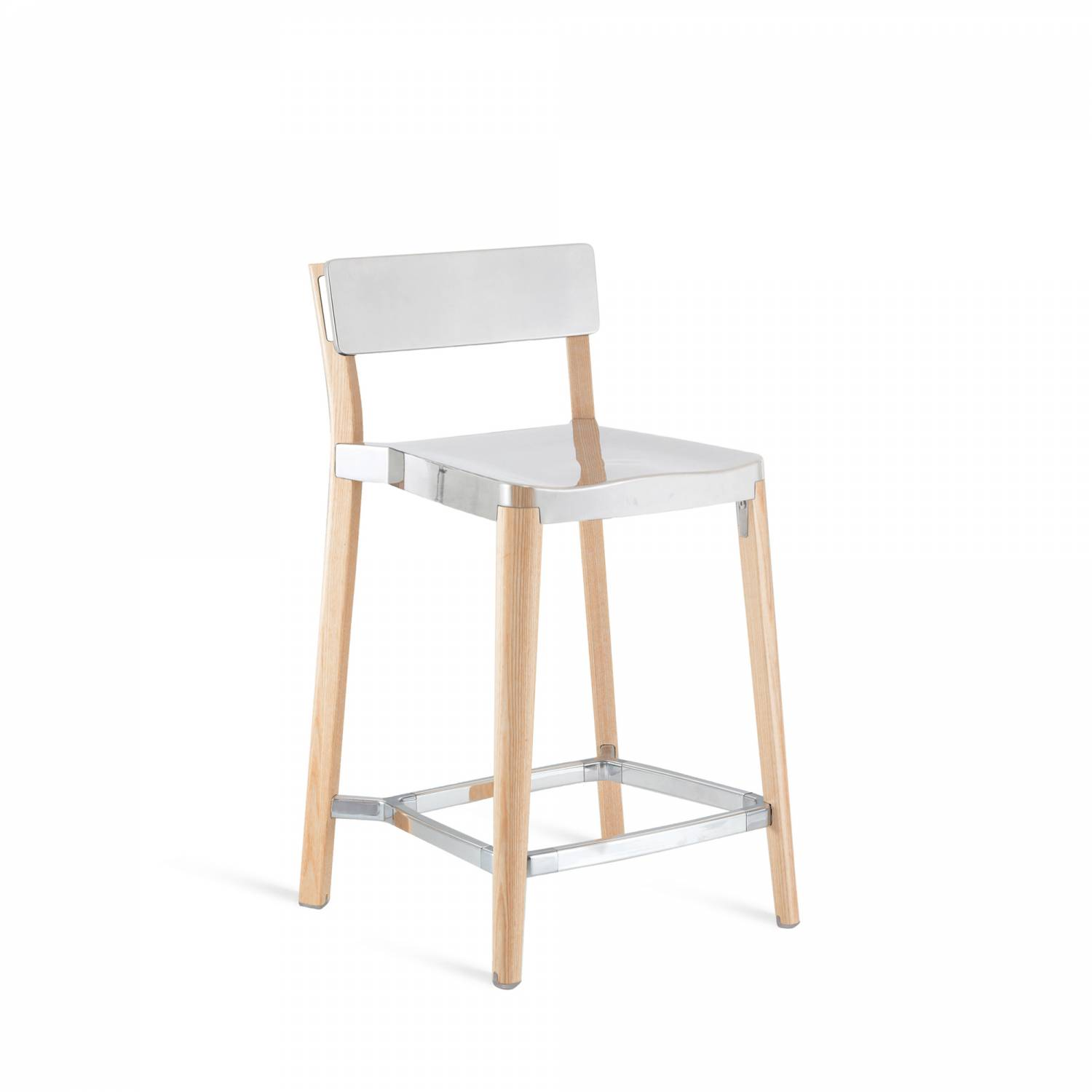 Lancaster Counter Stool Polished Aluminium, Light Wood Base, Without Seat Pad, Without Back Pad