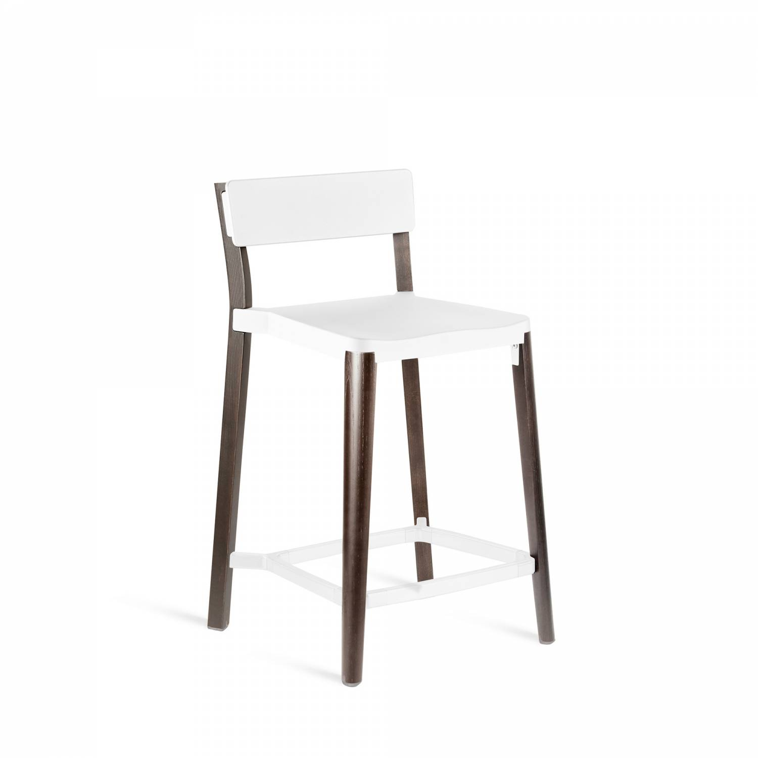 Lancaster Counter Stool White, Dark Wood Base, Without Seat Pad, Without Back Pad