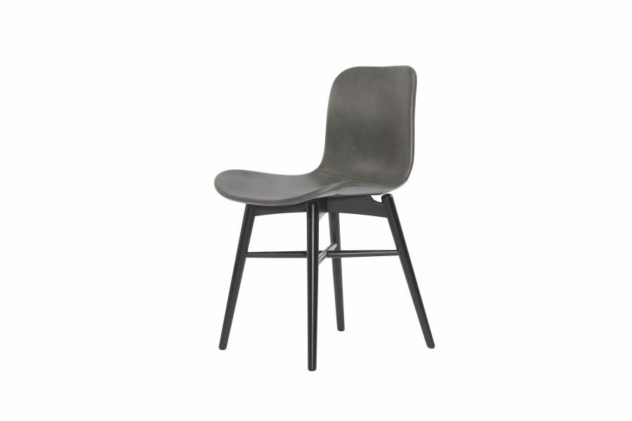 Langue Original Dining Chair, Black - Leather Grey Premium Leather