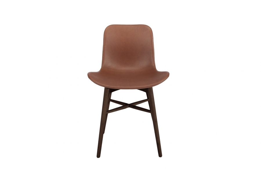Langue Original Dining Chair, Dark Stained - Leather Brown Premium Leather