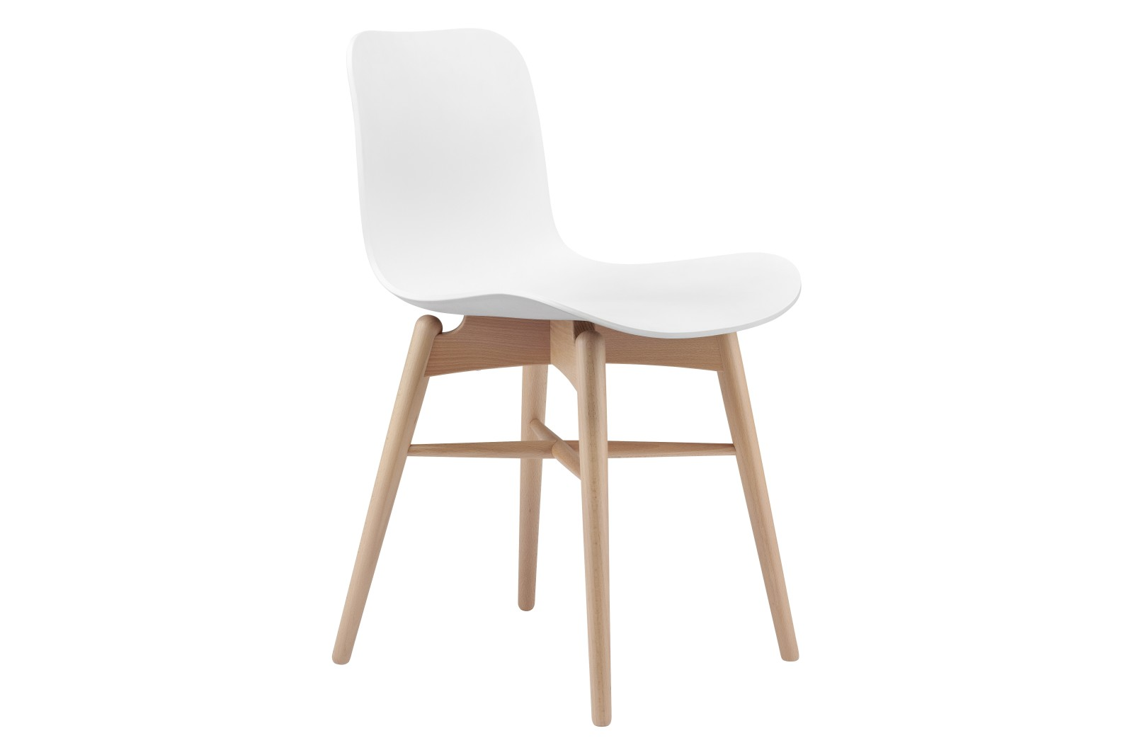 Langue Original Dining Chair Beech Natural Frame, Plastic Off White Shell