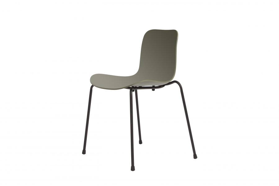 Langue Stack Dining Chair Moss Green