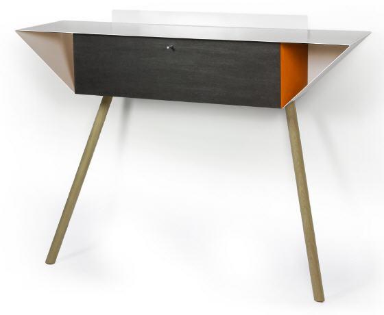 "Leaning sideboard ""Anlehnschrank 02 - Slate"" Orange with oak wood legs oiled (= natural)"