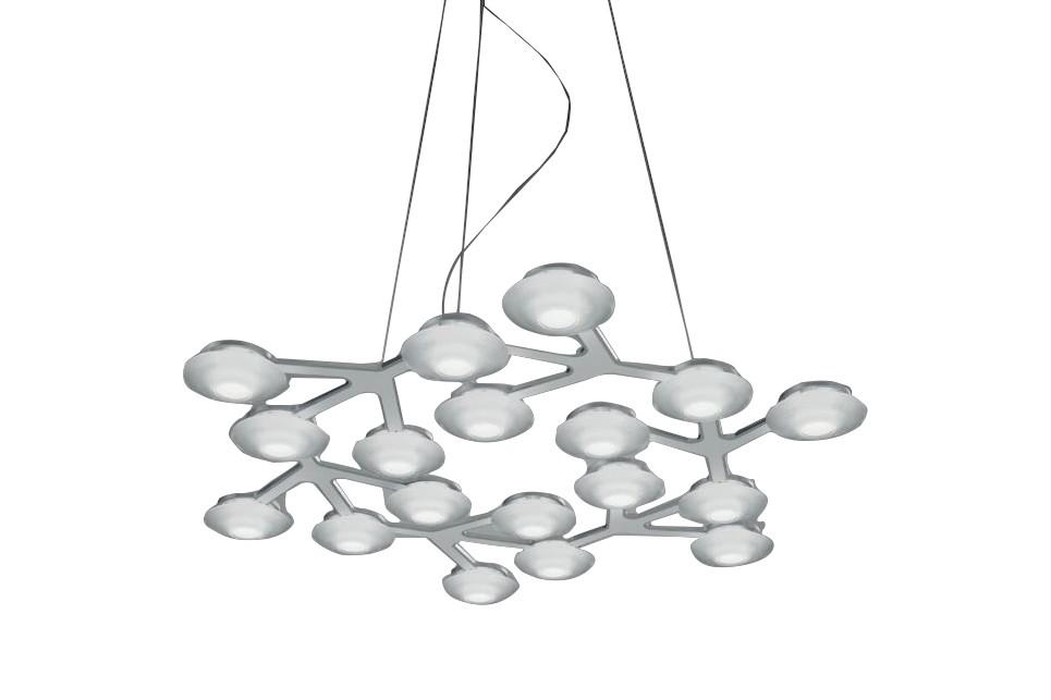 LED Net Circle Pendant Light Glossy White