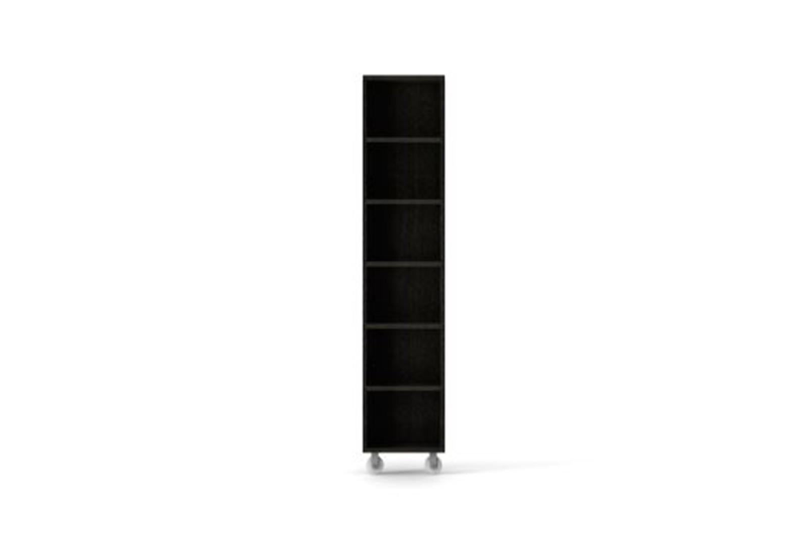 LIT221 Literatura Classic Storage Element on Wheels Dark Grey Stained Oak
