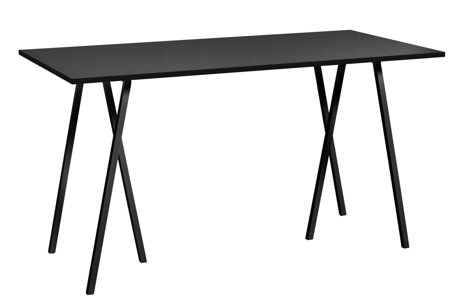 Loop Stand Rectangular High Table Linoleum Black, 180 x 87.5cm