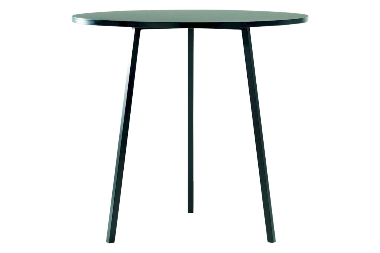 Loop Stand Round High Table Ø90 x H97cm, Linoleum Black, Metal Black
