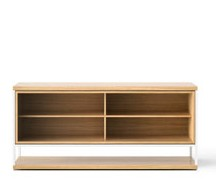 LOP002 Literatura Open Sideboard Super-matt Oak, White Textured Metal