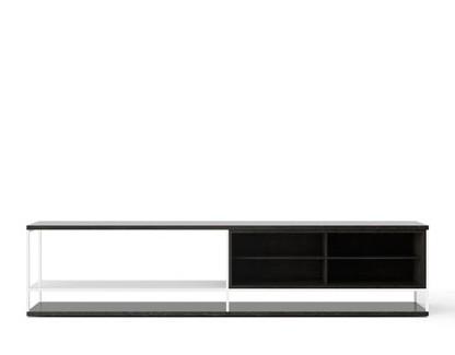 LOP006 Literatura Open Sideboard Dark Stained Walnut, White Textured Metal