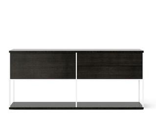 LOP106 Literatura Open Sideboard Dark Grey Stained Oak, White Textured Metal