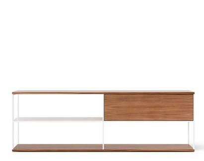 LOP108 Literatura Open Sideboard Super-matt Walnut, White Textured Metal