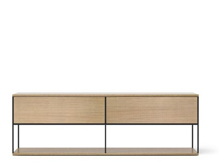 LOP109 Literatura Open Sideboard Whitened Oak, Black Textured Metal