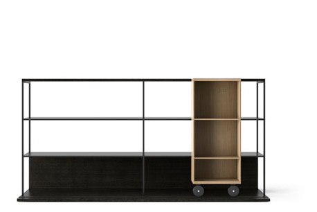 LOP202 Literatura Open Bookcase Dark Grey Stained Oak, Whitened Oak, Black Textured Metal