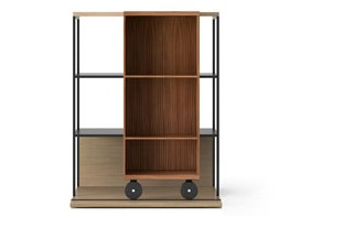 LOP210 Literatura Open Bookcase Whitened Oak, Super-matt Walnut, Black Textured Metal