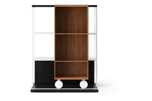 LOP210 Literatura Open Bookcase Ebony Stained Oak, Super-matt Walnut, White Textured Metal