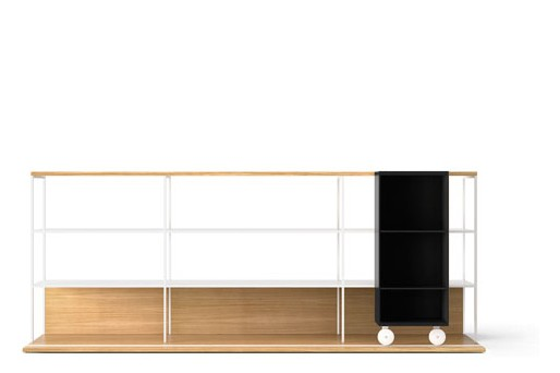 LOP221 Literatura Open Bookcase Super-matt Oak, Ebony Stained Oak, White Textured Metal