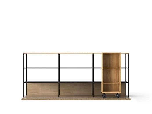 LOP230 Literatura Open Bookcase Whitened Oak, Super-matt Oak, Black Textured Metal