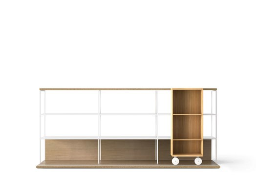 LOP230 Literatura Open Bookcase Whitened Oak, Super-matt Oak, White Textured Metal