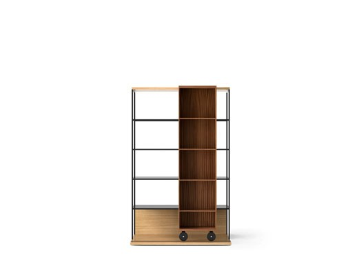 LOP401 Literatura Open Bookcase Super-matt Oak, Super-matt Walnut, Black Textured Metal